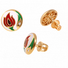Золотые серьги-пуссеты с бриллиантами и эмалью Беззаботное счастье White Edition