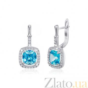 Серебряные серьги с голубыми фианитами Назира SLX--СК2ФТ/393