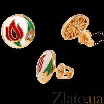 Золотые серьги-пуссеты с бриллиантами и эмалью Беззаботное счастье White Edition 000027221
