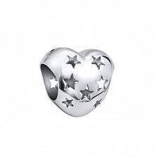 Серебряный шарм Звездное сердце с перфорированной поверхностью