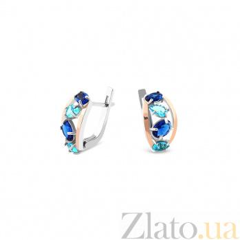 Серебряные серьги Германика с золотыми накладками и синими и голубыми альпинитами 000082129