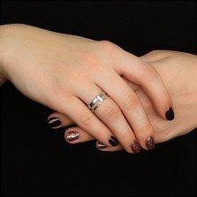 Кольцо в белом золоте Ветер с фианитами