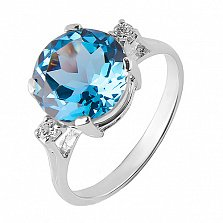 Кольцо из белого золота с голубым топазом Конкордия