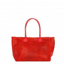 Кожаная сумка на каждый день Genuine Leather 7804 красного цвета на молнии и магнитной кнопке