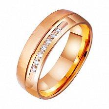 Золотое обручальное кольцо Линия любви с фианитами
