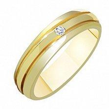 Золотое обручальное кольцо с бриллиантом Полетта