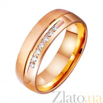 Золотое обручальное кольцо Линия любви с фианитами TRF--4121015