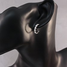 Серебряные серьги-пуссеты Мирта в форме колец с узорами и белыми фианитами