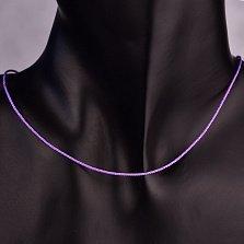 Фиолетовый шелковый шнурок Бриз с серебряным замком,1мм