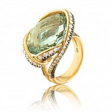 Золотой перстень Глаз ящерицы в желтом цвете с бериллом и дорожками бриллиантов