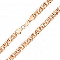 Золотая цепочка Исида в красном цвете с алмазной гранью в плетении бисмарк