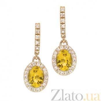 Золотые серьги с сапфирами и бриллиантами Райские ягоды Осень 000029609