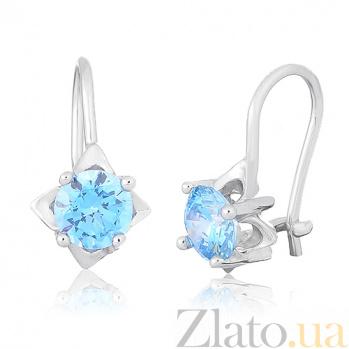 Серьги из серебра с голубыми фианитами Анима SLX--С2ФТ/189