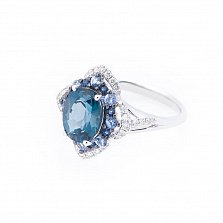 Золотое кольцо Волшебный зимний цветок с лондон топазом, сапфирами и бриллиантами
