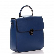 Кожаная деловая сумка Genuine Leather 8818 синего цвета с круглой ручкой и съемным ремнем