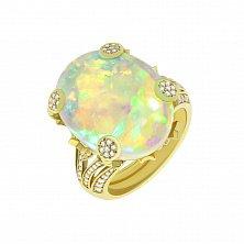 Золотое кольцо Лунная магия с белым опалом и бриллиантами