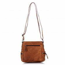Кожаный клатч HILL BURRY 3345 теплого коричневого цвета с накладным карманом и плечевым ремнем
