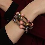Спиральный браслет Мечта с каучуком, агатами, муранским стеклом и кристаллами Swarovski