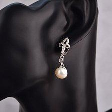Серебряные серьги-подвески Лили с жемчугом и лилией из фианитов