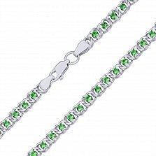 Серебряный браслет Мирена с зеленым цирконием