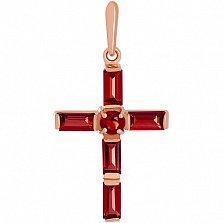 Золотой крестик с гранатами Эстетика ар-деко