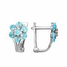 Серебряные серьги Адрея с голубыми фианитами