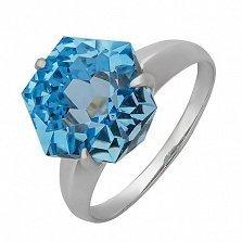 Серебряное кольцо с голубым топазом Риккарда