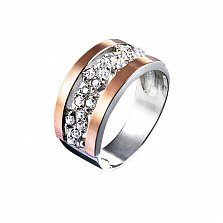 Серебряное кольцо Клара с вставкой золота и фианитами
