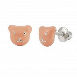 Детские серебряные серьги-пуссеты Котик с персиковой эмалью, 6х6мм