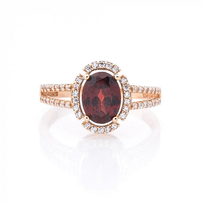 Золотое кольцо Лейла в красном цвете с гранатом и белыми фианитами 000082318