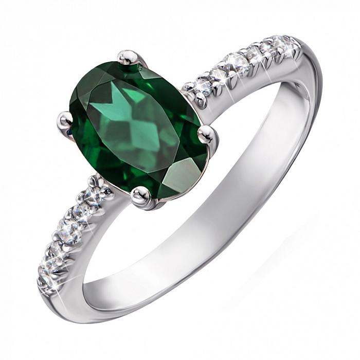 Серебряное кольцо Кристина с зеленым кварцем и фианитами 000064378