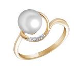 Кольцо Лада из желтого золота с бриллиантами и жемчугом