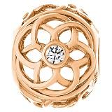 Золотой подвес-шарм Узорный цветок с фианитами