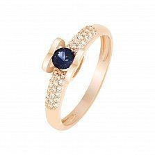 Кольцо в красном золоте Агния с сапфиром и бриллиантами