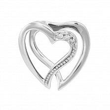 Подвеска в белом золоте Любовь с бриллиантами