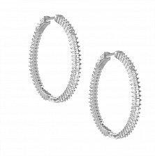 Серебряные серьги-конго Ореол с фианитами