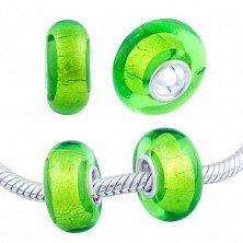 Серебряный шарм Атомик с зеленым муранским стеклом