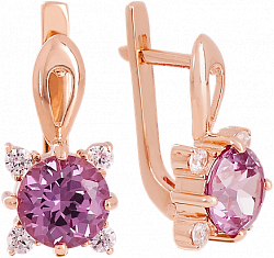 Золотые сережки с аметистом и фианитами Ванда 000018302