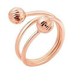 Золотое кольцо Свитти в красном цвете с шинкой в виде витка спирали и гранёными шариками
