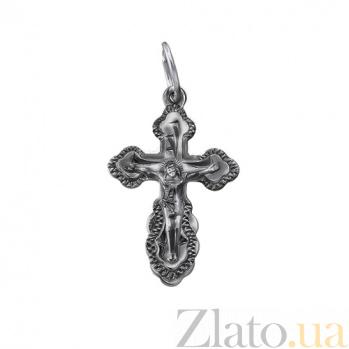 Серебряный крестик чернёный Крестильный 000032537