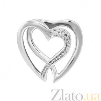 Подвеска в белом золоте Любовь в форме сердечек с бриллиантами VLA--31609