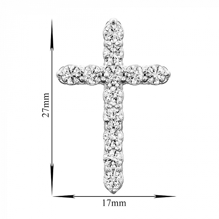 Золотой крестик в белом цвете с цирконием Swarovski 000049413 000049413