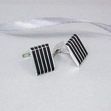 Серебряные запонки Франклин с черной эмалью