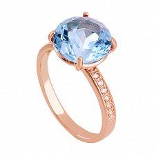 Золотое кольцо с топазом и фианитами Каллиста