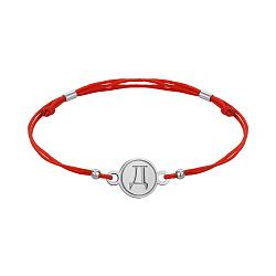 Браслет из серебра и красной шелковой нити Буква Д 000145085