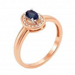 Золотое кольцо Карлотта в комбинированном цвете с бриллиантами и сапфиром