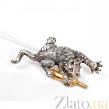 Серебряная закладка с позолотой Кот-проказник 1580