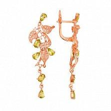 Серьги-подвески Орнелла в красном золоте с лаймовыми цирконами