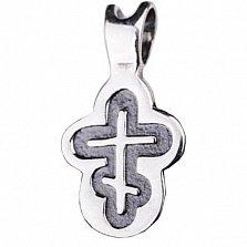 Детский серебряный крестик НИКА с чернением