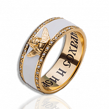 Женское обручальное кольцо Ангел хранитель с эмалью и бриллиантами
